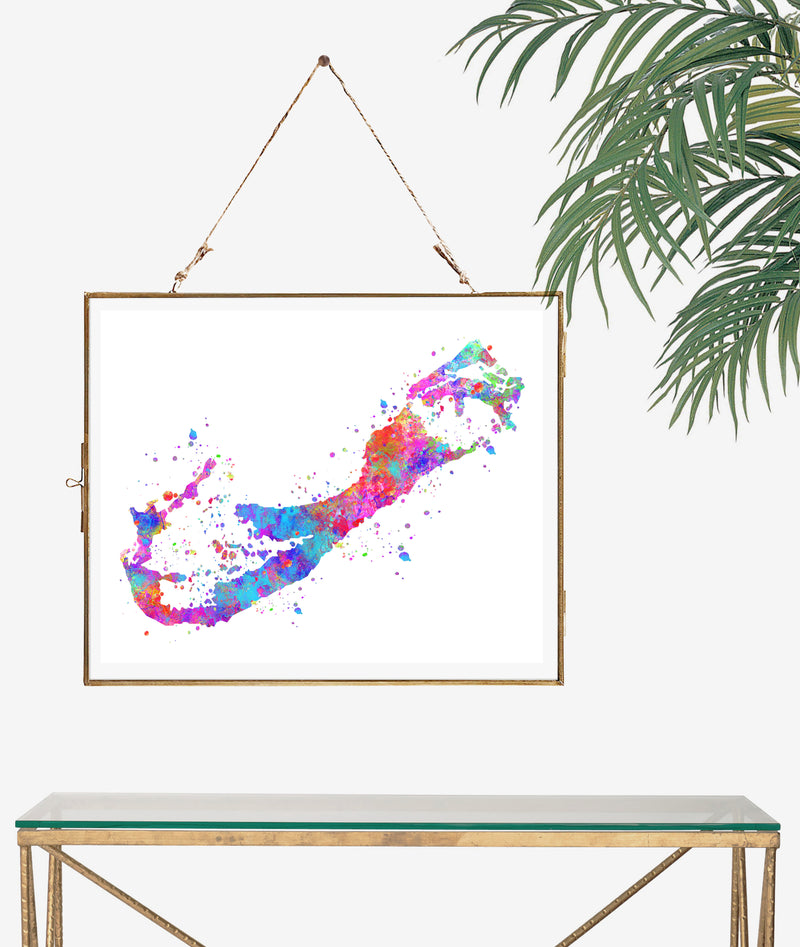 Bermuda Map Art Print - Unframed - Zuzi's