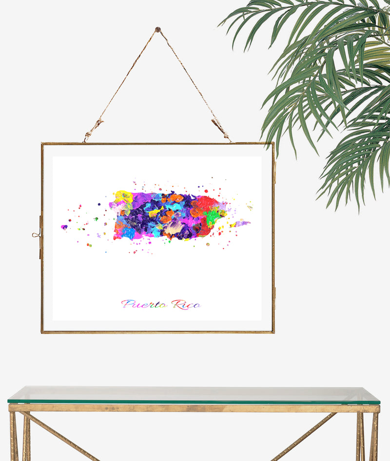 Puerto Rico Map Art Print - Unframed - Zuzi's