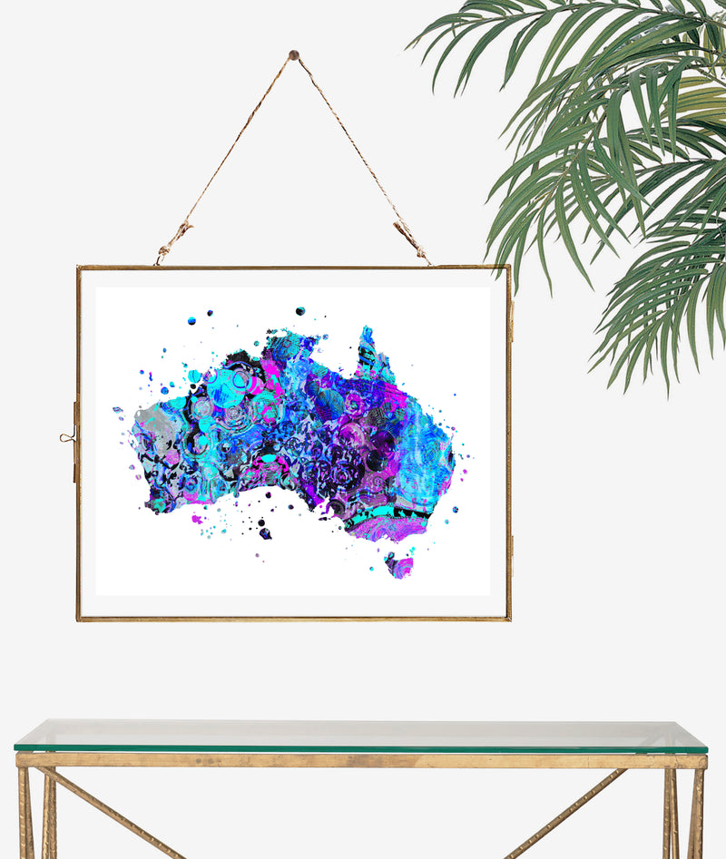 Australia Map Art Print - Unframed - Zuzi's