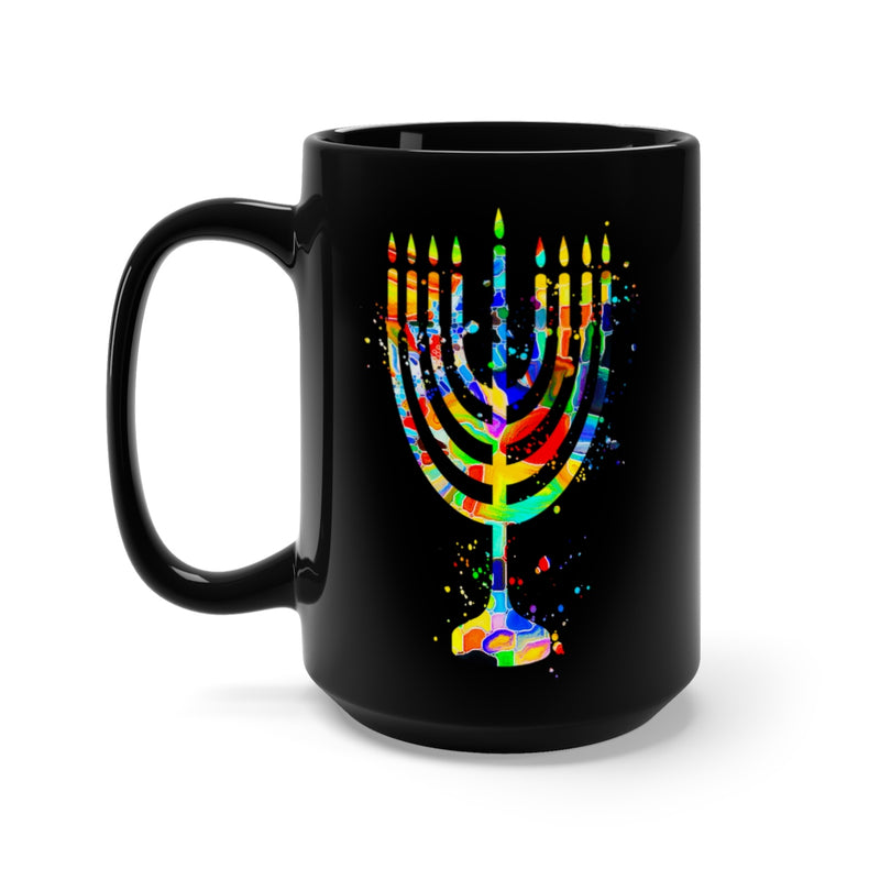 Menorah Black Mug 15oz - Zuzi's