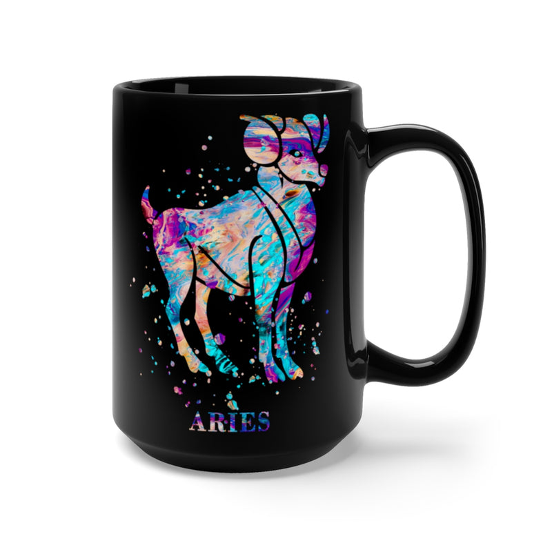 Watercolor Aries Black Mug 15 oz - Zuzi's