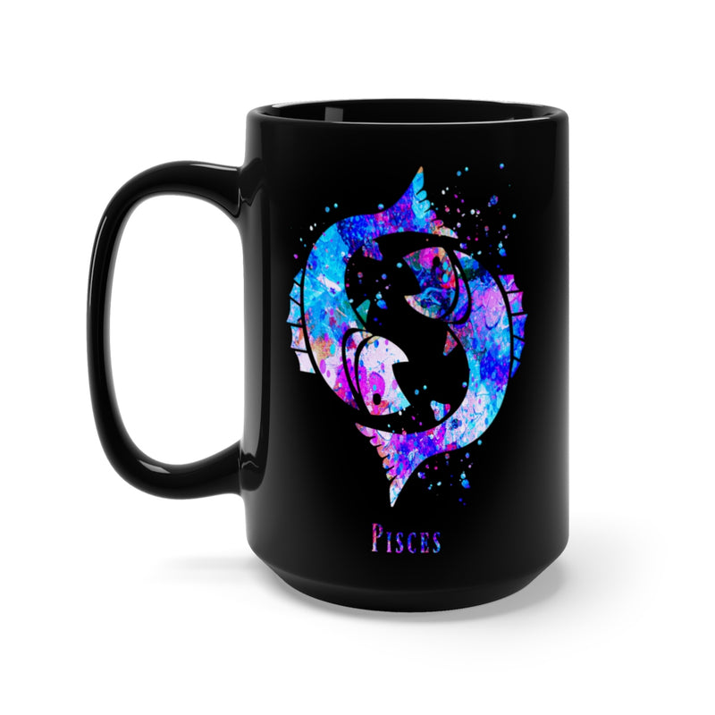 Pisces Zodiac Sign Black Mug 15oz - Zuzi's
