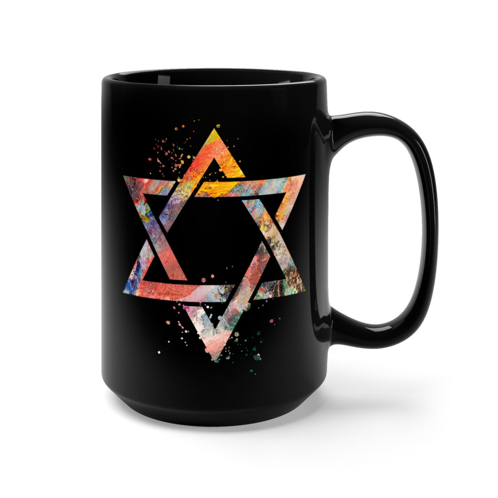 Star Of David  Black Mug 15oz