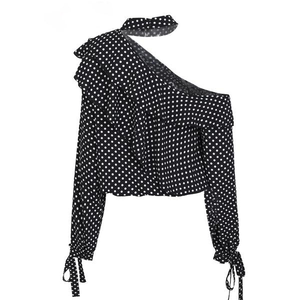 One shoulder polka dot blouse - Zuzi's