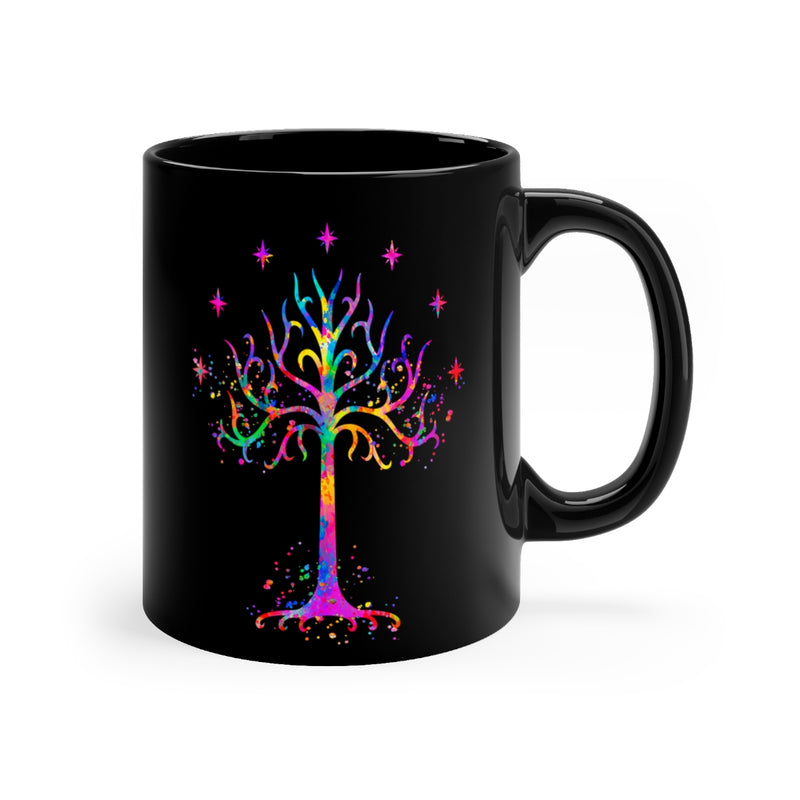 Tree Of Gondor Black Mug 11oz