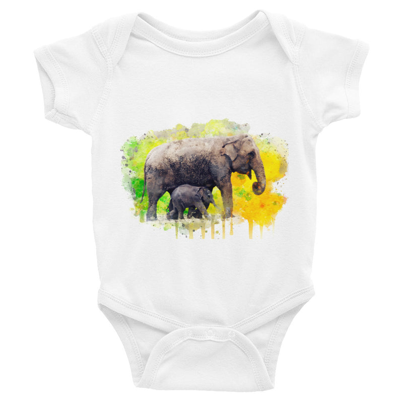 Watercolor Elephants Infant Bodysuit - Zuzi's
