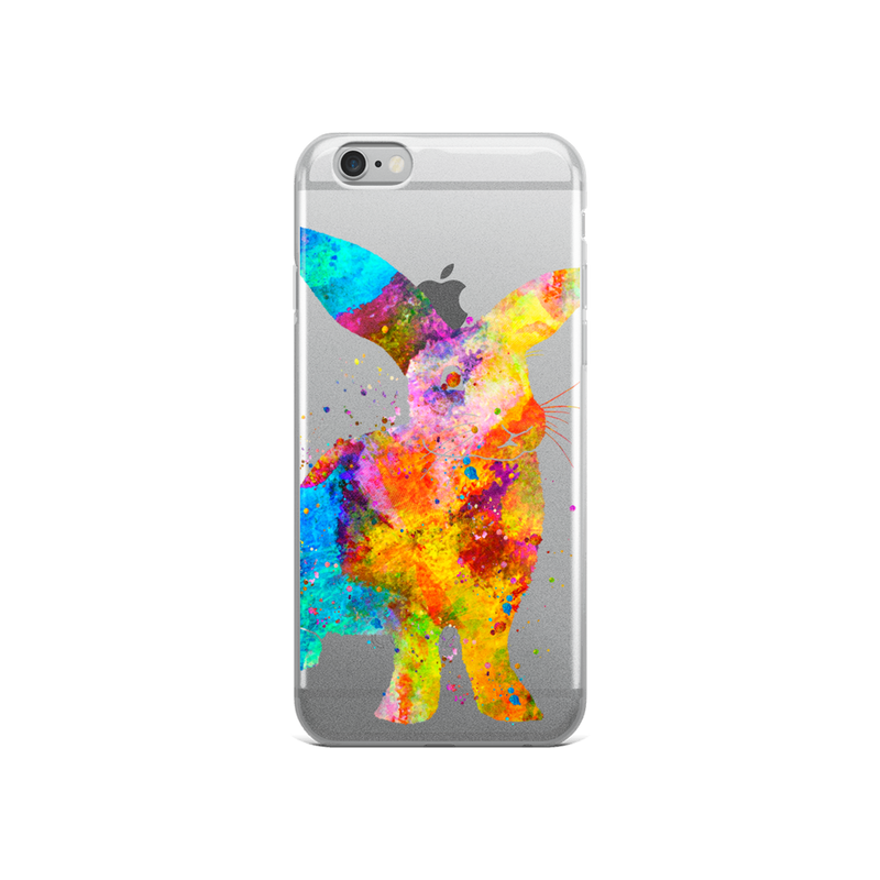 Watercolor Bunny Rabbit Clear iPhone Case - Zuzi's