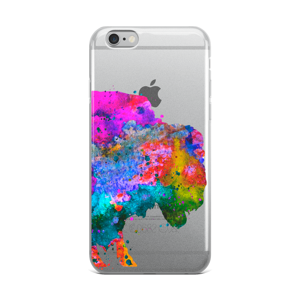 Watercolor Buffalo Clear iPhone Case