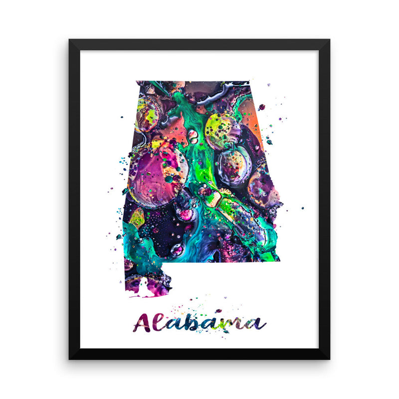 Alabama Map Framed Art Print - Zuzi's