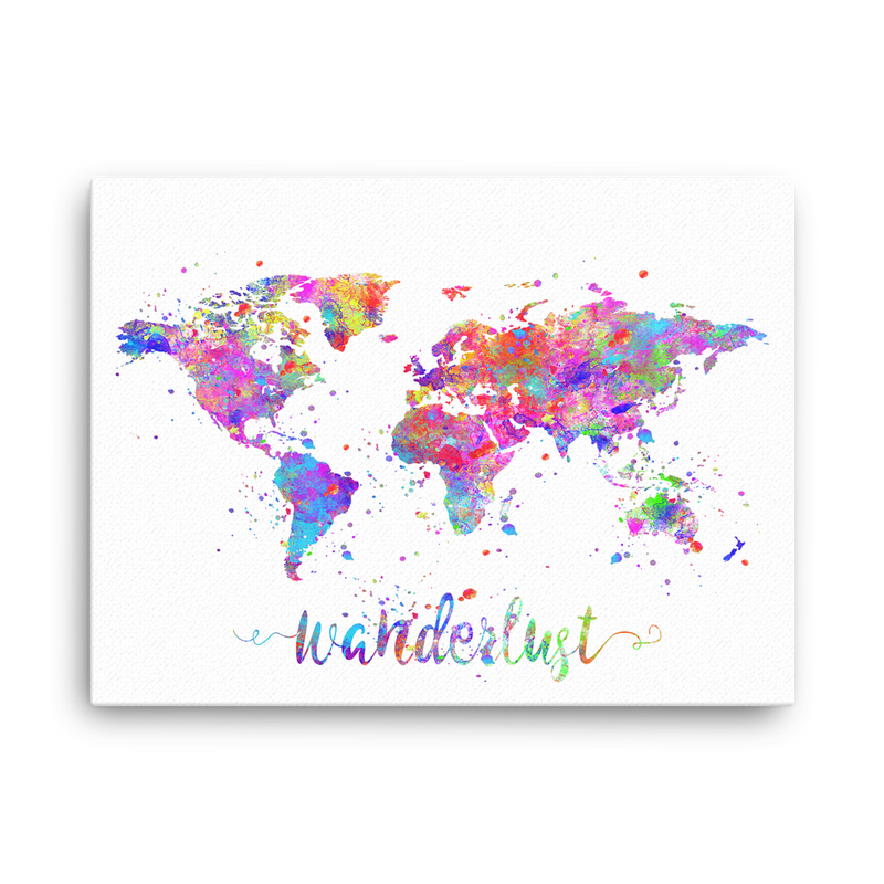Wanderlust World Map Canvas Wrap - Zuzi's
