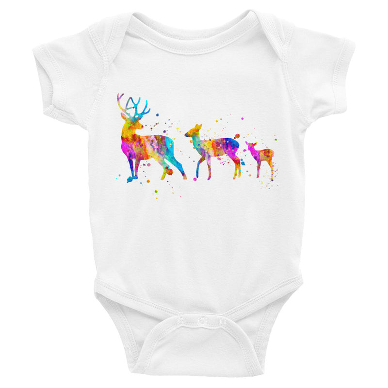 Watercolor Deer Family Infant Bodysuit - Zuzi's