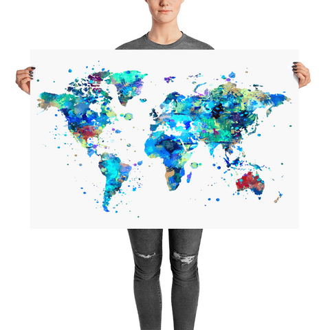 Watercolor World Map Art Print - Large Size - Unframed
