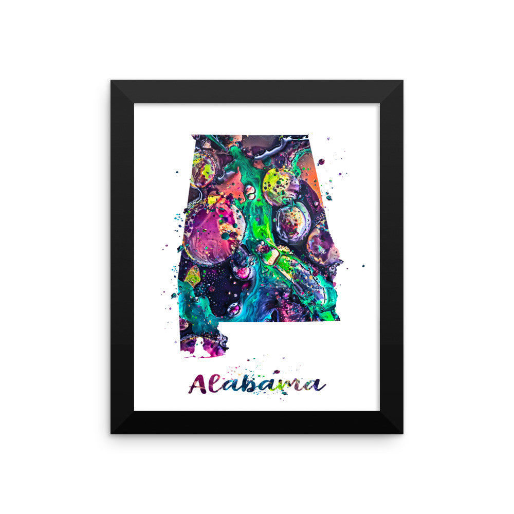 Alabama Map Framed Art Print