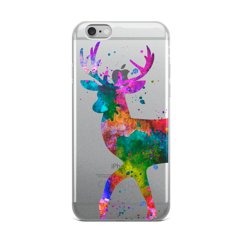 Watercolor Deer Clear iPhone Case