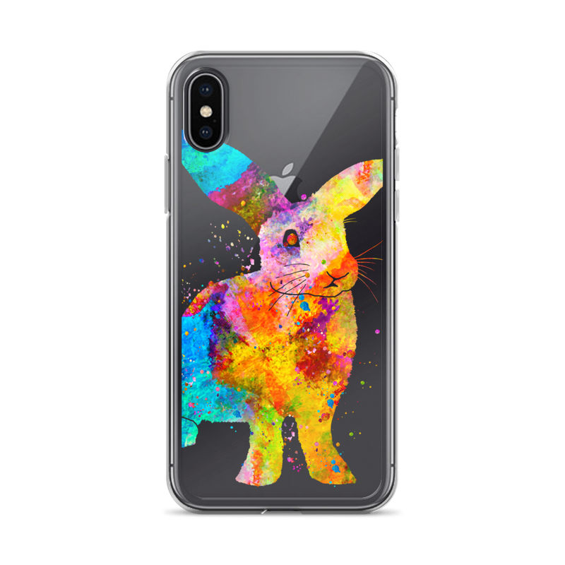 Watercolor Bunny Rabbit Clear iPhone Case