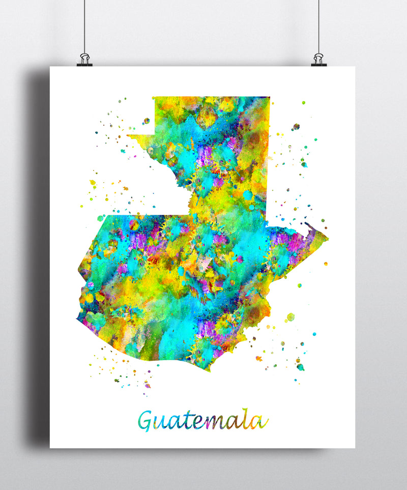 Guatemala Map Art Print - Unframed - Zuzi's
