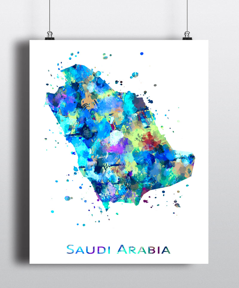 Saudi Arabia Map Art Print - Unframed - Zuzi's