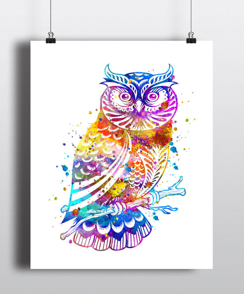 Owl Watercolor Art Print - Unframed - Zuzi's