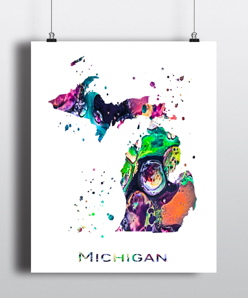 Michigan Map Art Print - Unframed - Zuzi's