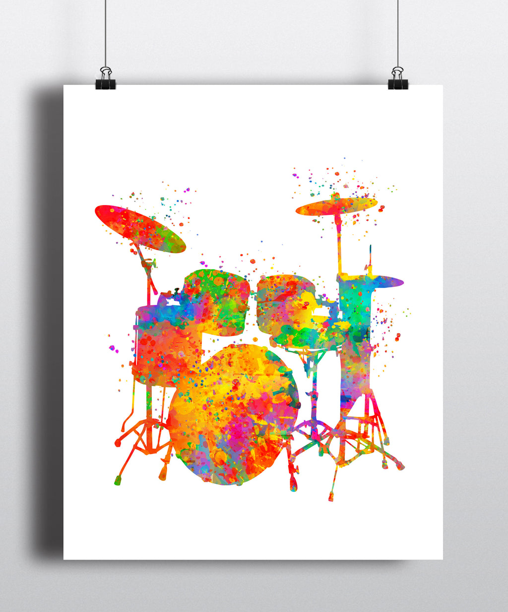 Drums Watercolor Art Print - Unframed