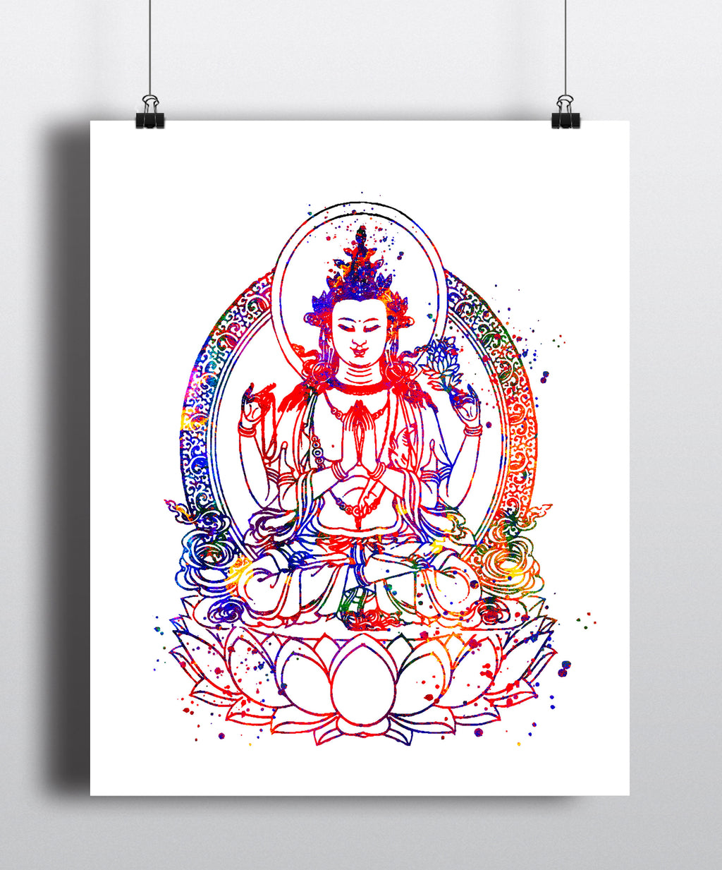 Buddha Watercolor Art Print - Unframed - Zuzi's