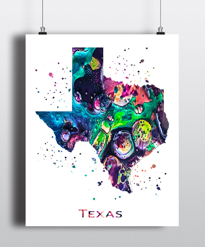 Texas Map Art Print - Unframed - Zuzi's