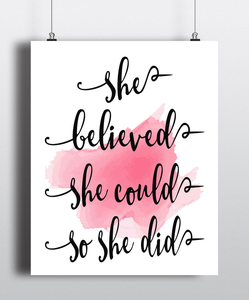 She believed she could so she did Quote Art Print - Unframed - Zuzi's