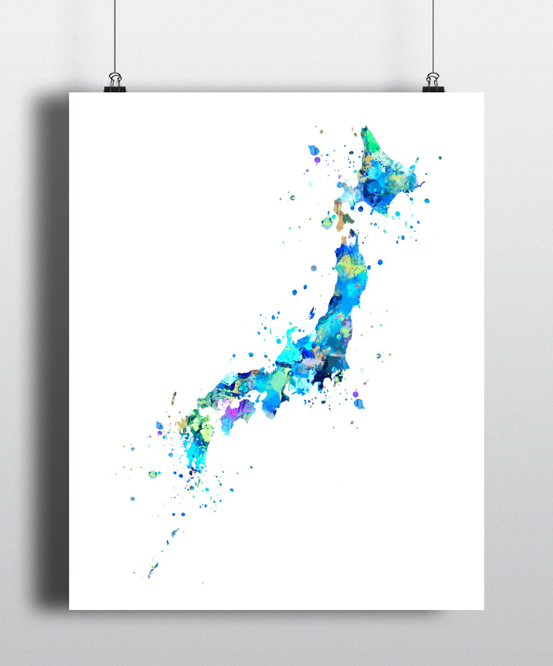 Japan Map Art Print - Unframed - Zuzi's