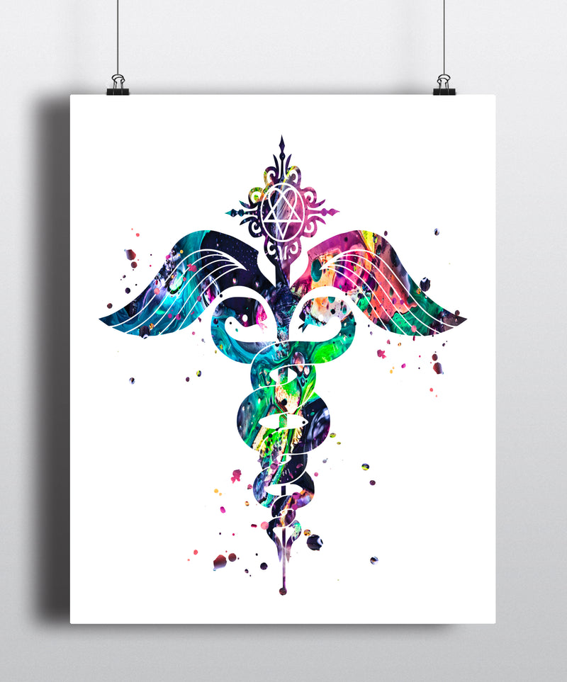 Caduceus Watercolor Art Print - Unframed