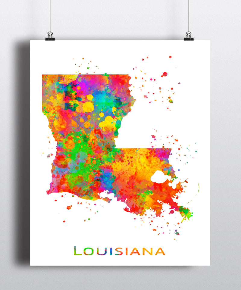 Louisiana Map Art Print - Unframed - Zuzi's