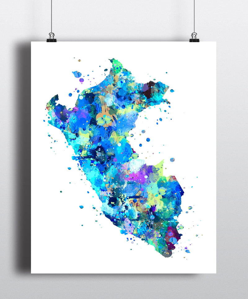 Peru Map Art Print Poster - Unframed - Zuzi's