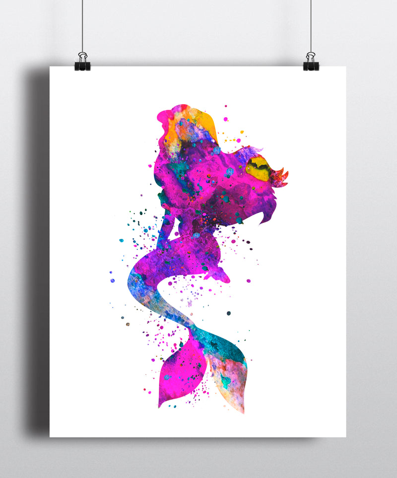 Mermaid Watercolor Art Print - Unframed - Zuzi's