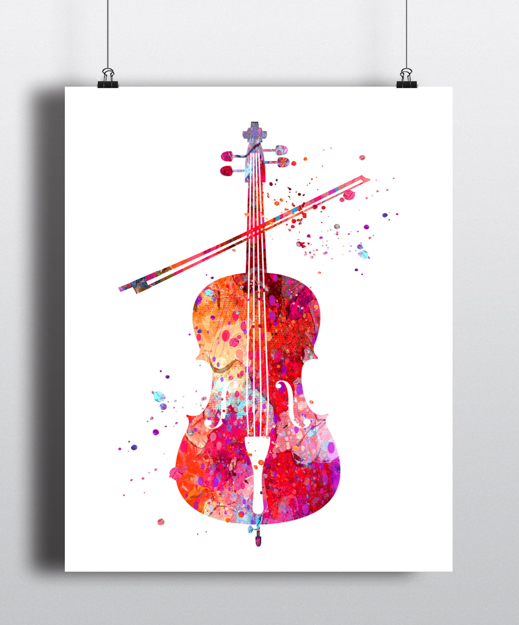 Cello Watercolor Art Print - Unframed
