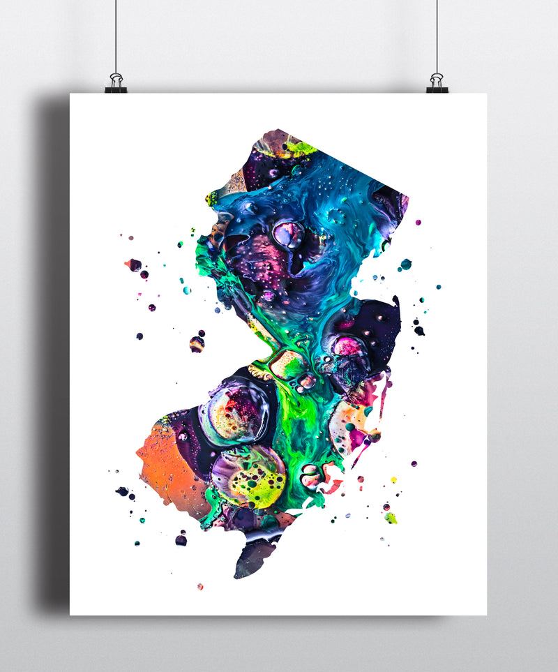 New Jersey Map Art Print - Unframed - Zuzi's