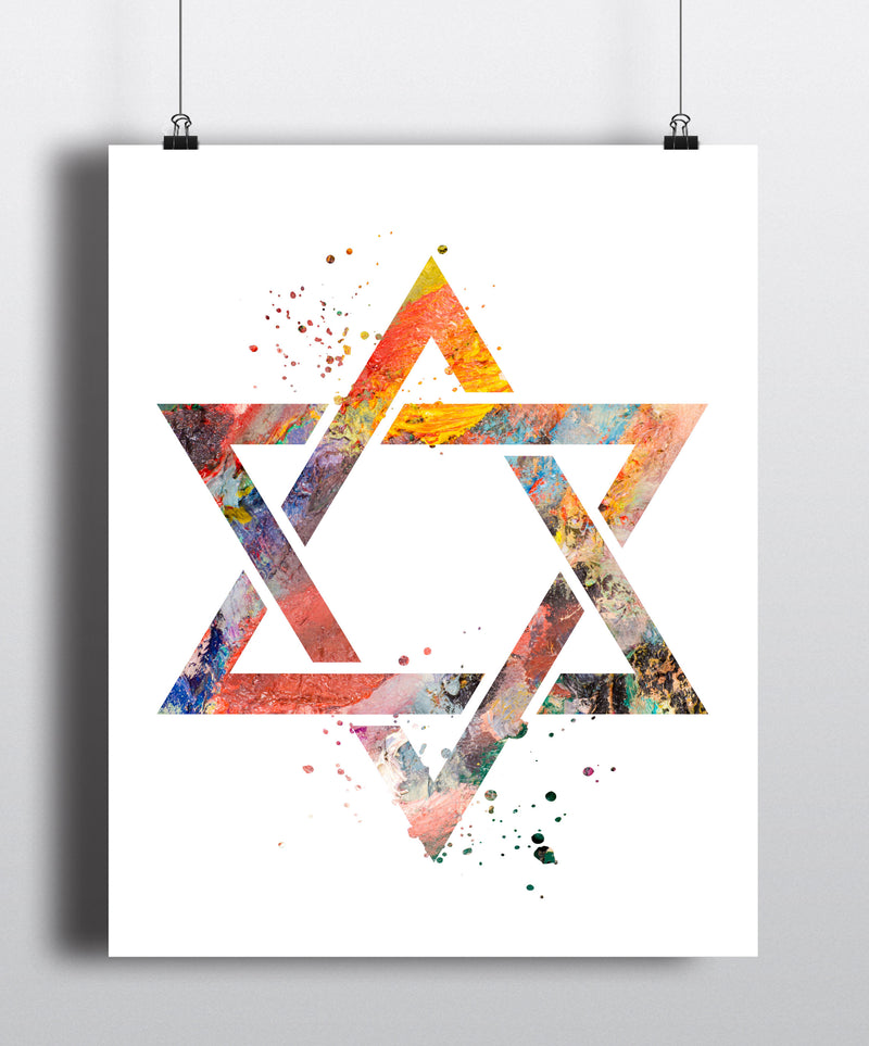 Star Of David Watercolor Art Print - Unframed - Zuzi's