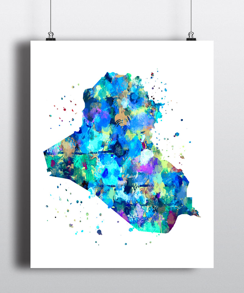 Iraq Map Art Print - Unframed - Zuzi's