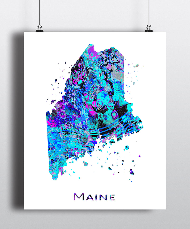 Maine Map Art Print - Unframed - Zuzi's
