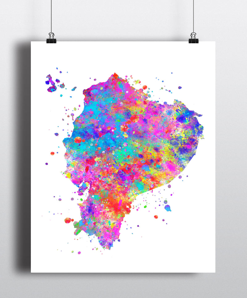Ecuador Map Art Print - Unframed - Zuzi's