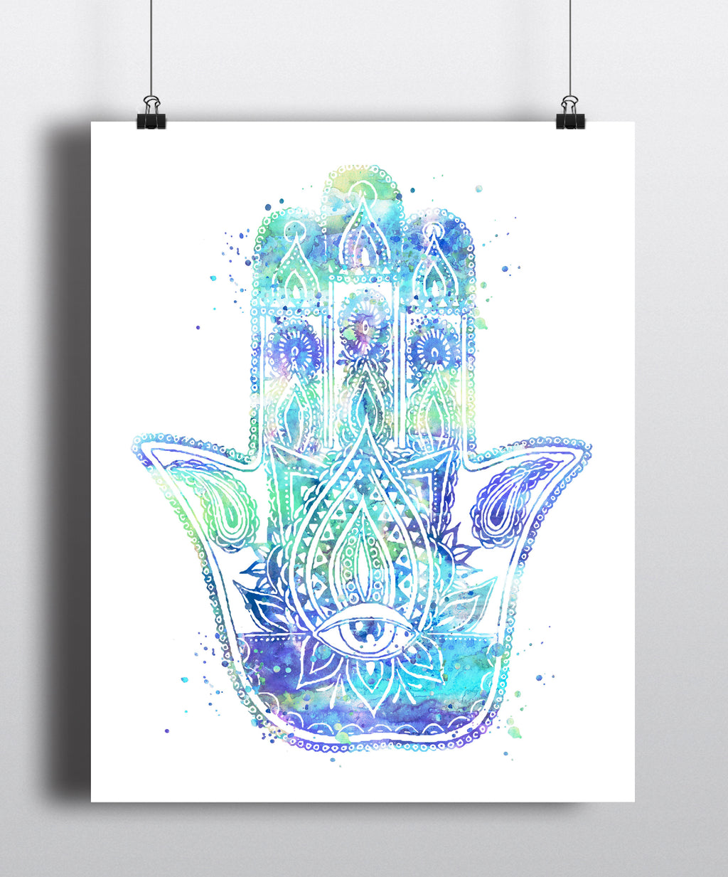 Hamsa Hand Watercolor Art Print - Unframed
