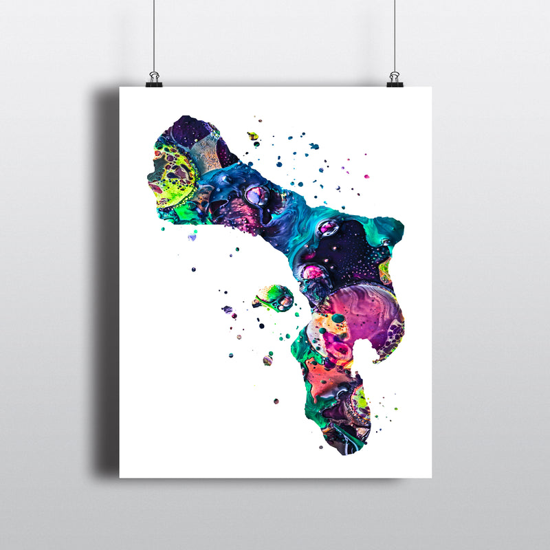 Bonaire Map Art Print - Unframed - Zuzi's