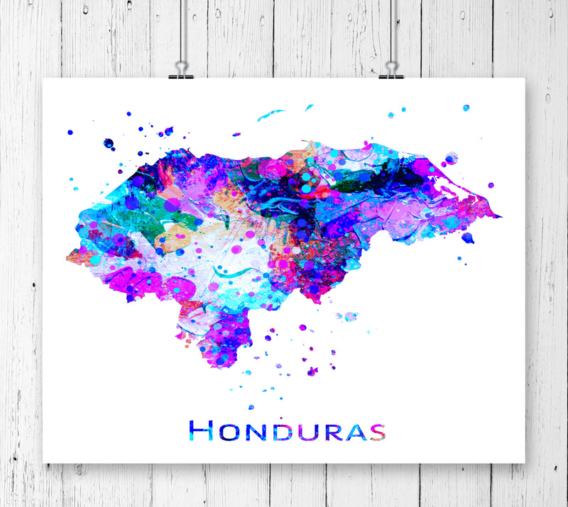 Honduras Map Art Print - Unframed - Zuzi's
