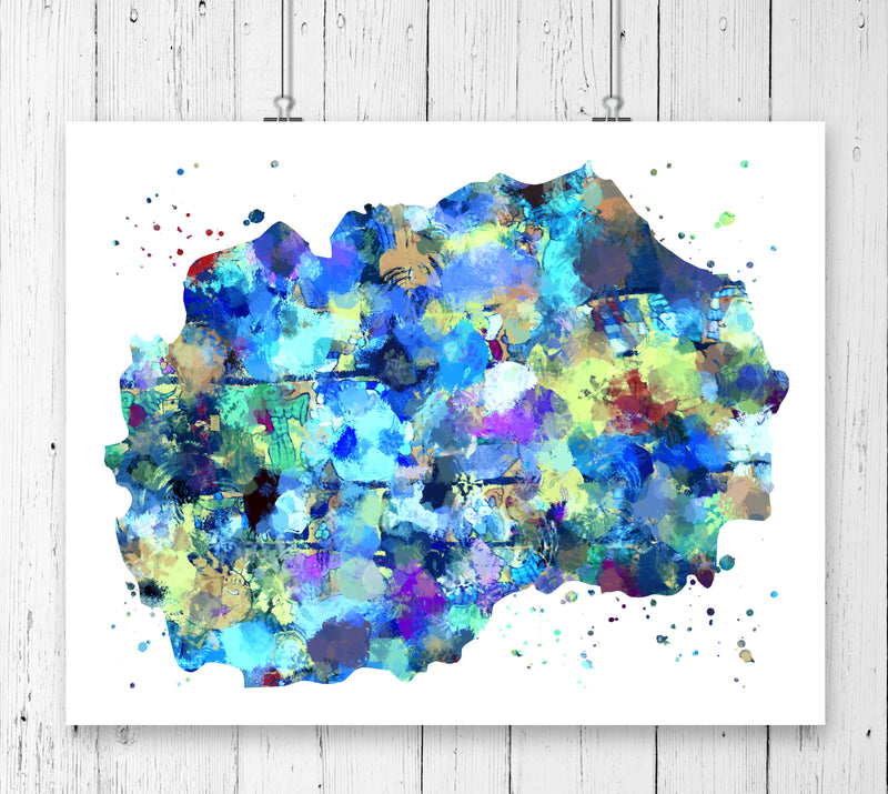 Macedonia Map Art Print - Unframed - Zuzi's
