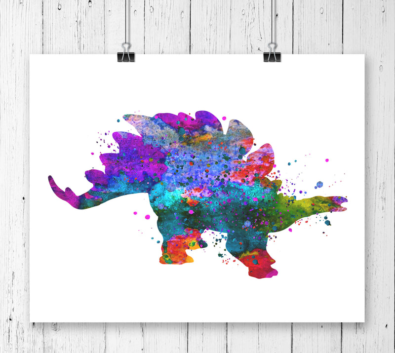 Stegosaurus  Watercolor  Art Print - Unframed - Zuzi's