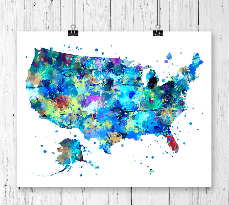 United States Map Art Print - Unframed - Zuzi's