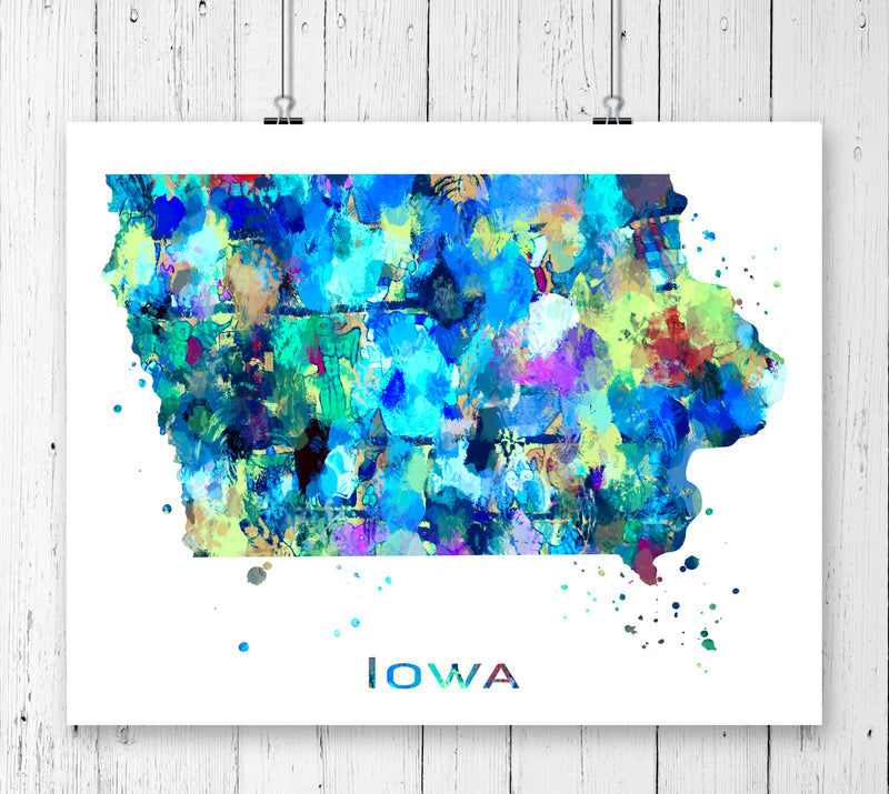 Iowa Map Art Print - Unframed - Zuzi's