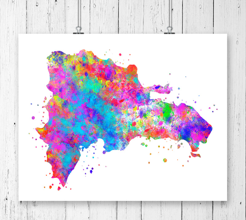 Dominican Republic Map Art Print - Unframed - Zuzi's