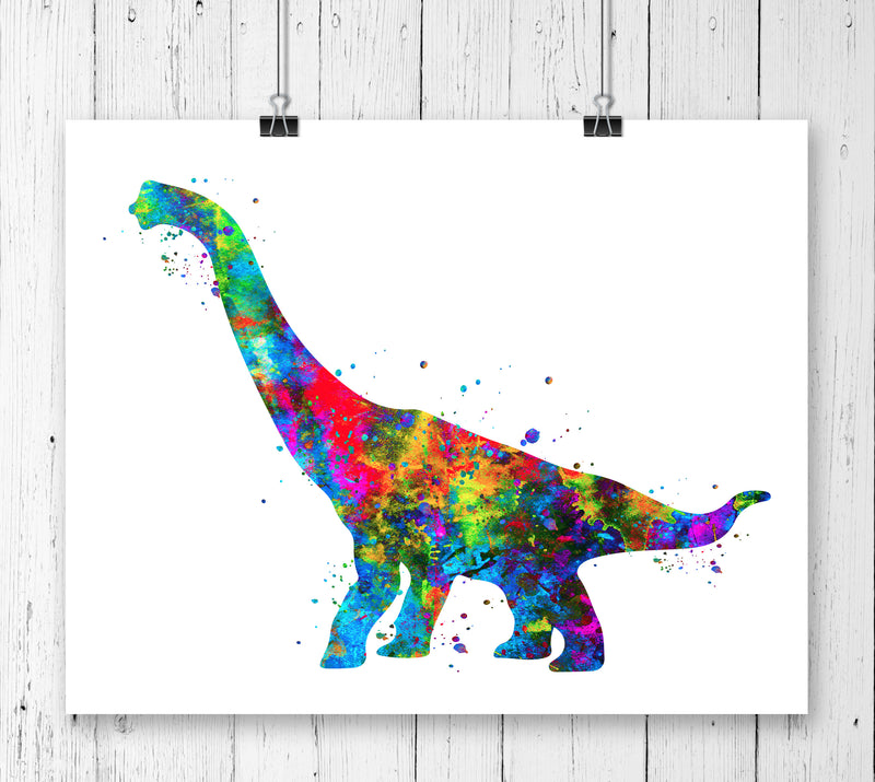 Brachiosaurus Dinosaur Watercolor  Art Print - Unframed - Zuzi's