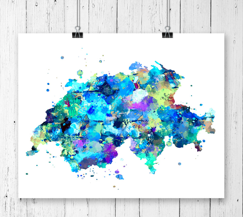 Switzerland Map Art Print - Unframed - Zuzi's