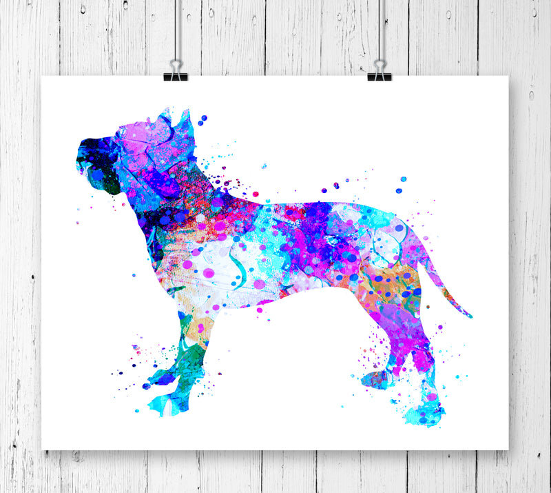 American Staffordshire Terrier Watercolor Art Print - Unframed - Zuzi's