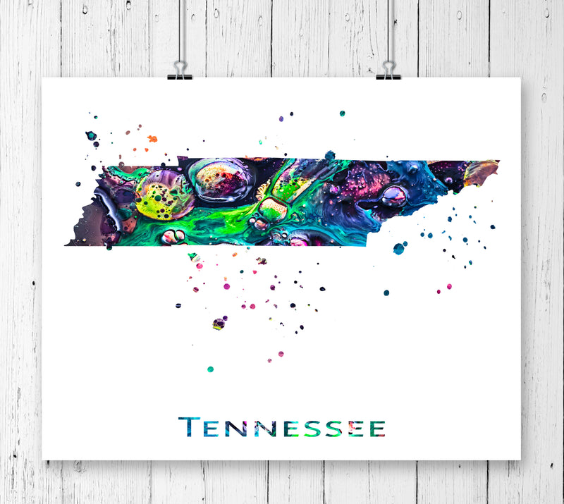Tennessee Map Art Print - Unframed - Zuzi's